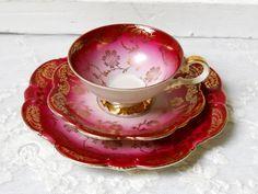 vintage tea cup trio german porcelain tea cups tea trio german teacup tea cup and saucer burgundy tea cup