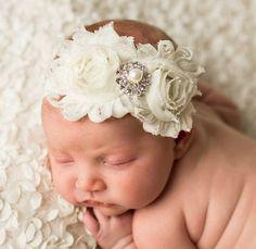 Shabby Chic Flower Diamond Headband