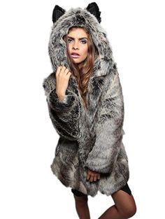 Amore Bridal Women's Cute Cartoon Ear Hooded Soft Plush Winter Faux Fur Coat at Amazon Women's Coats Shop
