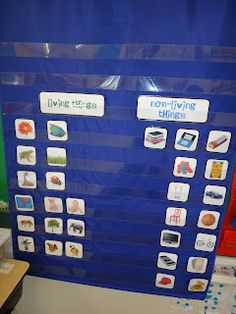 """This is a great idea for an individual or group activity. Give the children pictures of objects both living and non living and have them put each picture under the """"Living"""" and """"Non-living"""" categories.  MLM"""