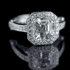 less expensive asscher cut diamond engagement ring