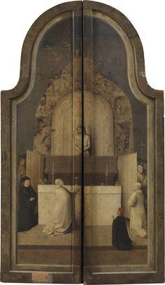 Reverso de los postigos de La Adoración de los Reyes Magos: La misa de San Gregorio; Grisalla sobre tabla, 138x66cm. Museo del Prado, Madrid.