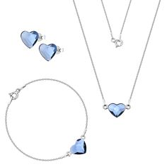 Komplet z serduszkami Swarovski Swarovski, Pendant Necklace, Silver, Jewelry, Jewlery, Jewerly, Schmuck, Jewels, Jewelery