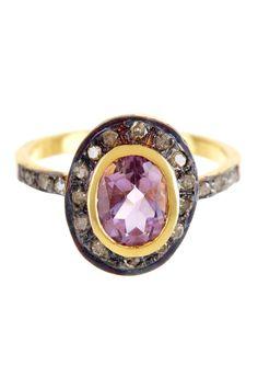 Amethyst Oval Shaped Diamond Ring on HauteLook