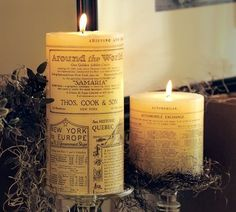 Create your own newsprint candles using inexpensive pillar candles, tissue paper, and a hair dryer.  Really.
