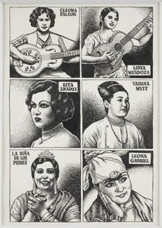 R. Crumb » Untitled (6 Women musicians)David Zwirner  Ink and correction fluid on paper 13 3/4 x 9 7/8 inches (35 x 25 cm)