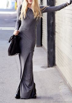 grey maxi dress street style shot.  love it.  love the fabric, the color, where to find it!!