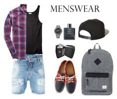 """Untitled #399"" by ichanee on Polyvore featuring Dsquared2, Superdry, Breguet, Herschel Supply Co., Chanel, Brixton, men's fashion, menswear and slipons"