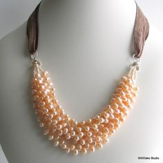 Precious Natural Peach Pearl Cluster Bib Necklace with Brown Silk Tie - I could make this for waaaaay less money