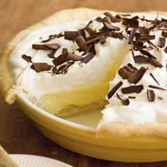 Banana cream pie is a classic that shines even more when made at home. It features a buttery crust, vanilla filling, whipped cream and slices of banana.