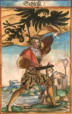 """Schlesien [Schlessi] (f°56) -- Koebel, Jacob, """"Wapen des heyligen römischen Reichs teutscher Nation"""", Franckfurth am Main, 1545 [BSB Ms. Rar. 2155]"""