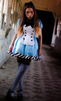 Twist on an Alice in Wonderland Costume with a Dark and Creepy Sinister Look added with Face Paint