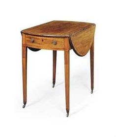 Understated perfection from Christie's...A GEORGE III MAHOGANY AND SATINWOOD BANDED PEMBROKE TABLE  LATE 18TH CENTURY...  From...  http://www.christies.com/lotfinder/furniture-lighting/a-george-iii-mahogany-and-satinwood-late-5559729-details.aspx?from=salesummary=23=5559729=834cbfc8-118b-462b-9a1f-8a25e5e9f96a