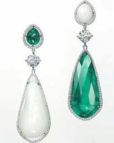 #emerald #pearl and #diamond earrings