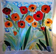 Poppy Fields by Mary Terziani Glass. Fused Glass Art, Mosaic Glass, Stained Glass, Glass Fusion Ideas, Alone Art, Glass Flowers, Art Party, Poppies, Poppy Fields