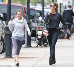 Yoga session?: Gisele and Patricia appeared to have just finished a workout as they were b...