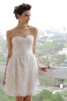 vestido de noiva curto - noivado - casamento civil ( Vestido: Wanda Borges   Beleza: Agência First )