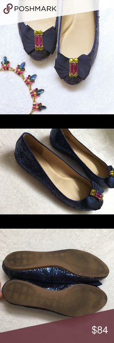 kate spade glitter bow flats Amazing kate spade shoes! Flats in navy blue glitter with navy grosgrain bows and colorful stones on toes. Worn just a couple times and in excellent condition! Size 10. Note that they come in a kate spade shoe box, but it is not the original box for these shoes. / shoes, flats, kate spade, is, glitter, sequin, bow, bows, rhinestones, gemstones, stones / kate spade Shoes Flats & Loafers