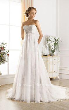 #Dorris Wedding - #Dorris Wedding A-Line Maxi Strapless Sleeveless Lace-Up Lace Dress With Beading - AdoreWe.com