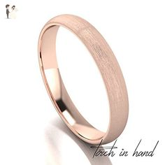 Rose Gold Wedding Band, 14k Solid Rose Gold 3mm Wide, Matte Wedding Band, Light Brushed Wedding Band - Wedding and engagement rings (*Amazon Partner-Link)