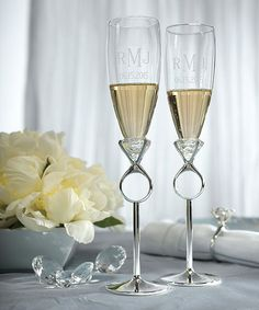 monagrammed Diamond Ring Champagne Flutes