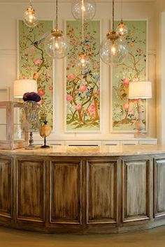 Hand painted panels inspired by de Gournay wallpaper in Bubble Boutique - Design by Joelle Nesen of Maison, Inc.