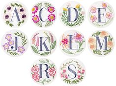 Image of Floral Monogram Embroidery Kit - Personalized Gift, DIY