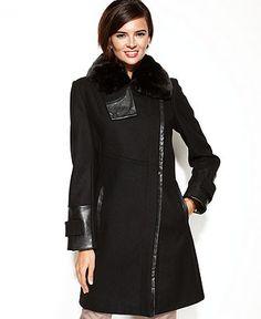 Via Spiga Coat, Asymmetrical Faux-Fur-Collar Walker