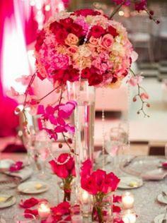 vintage wedding centerpieces | pretty pink floral centerepiece