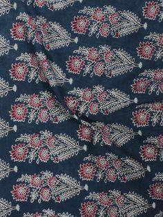 Indigo Maroon Ivory Ajrakh Block Printed Cotton Fabric Per Meter - F003F845
