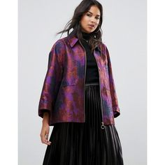 ASOS Kimono Jacket in Jacquard (97 AUD) ❤ liked on Polyvore featuring outerwear, jackets, multi, zipper jacket, kimono jacket, asos kimono, shiny jacket and party jackets
