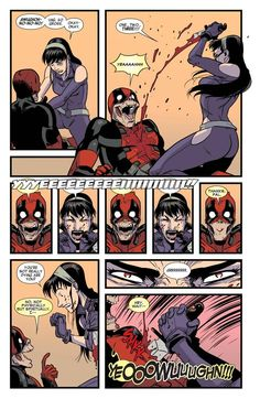 Hawkeye and Deadpool share a moment together.