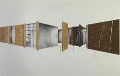 """Tatiana Trouve, 2010 Courtesy Galerie Perrotin - Untitled (from the series """"Deployments"""") 2010 Pencil on paper on canvas, canvas, copper, cork / Crayon sur papier sur toile, toile, cuivre, liège / 157,5 x 245,5 x 5,5 cm Unique"""