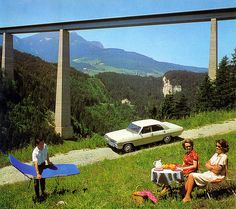1965 Opel Admiral Europabrücke near Innsbruck The Europabrücke, or Europe bridge, is a 777-m (2,549.2-ft.) long bridge spanning the 657-m (2,155.5-ft.) Wipp valley just south of Innsbruck, Austria in the Tyrol area. The A13 Brenner Autobahn passes over this bridge, above the Sill River, forming part of the main route from Austria to Italy across the Alps. Built between 1959 and 1963, it was once Europe's highest bridge, standing 192 m (629.9 ft.) high.
