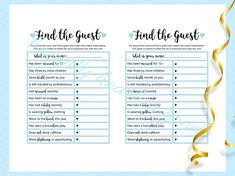Find The Guest Baby Shower Game Blue Baby Shower Baby Blue Baby Shower Giraffe, Baby Boy Shower, Fun Baby Shower Games, Diy Games, Game Boy, Cool Baby Stuff, Baby Blue, Twins, Printables