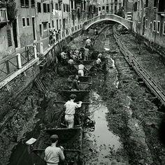 """Alcuni """"carioanti"""", un mestiere che a #Venezia non c'è più, mentre eseguono la manutenzione dei canali."""