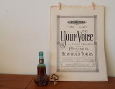 Your Voice vintage sheet music - ca. 1900, published in London. You could frame the cover as a romantic gift or display on your piano. #vintage #music #typography #design #fonts #romantic #gift