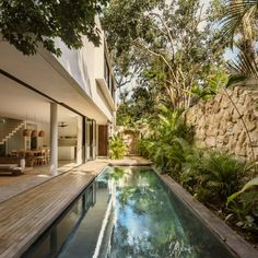A combination of tall, pivot doors and retractable glass walls enable the social area to flow into the garden, where one finds a slender swimming pool encircled by a deck. Architecture Courtyard, Concept Architecture, Amazing Architecture, Outdoor Spa, Outdoor Rooms, Outdoor Decor, Tulum Mexico, Natural Swimming Pools, Tropical