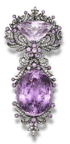 A kunzite and diamond brooch                                                                                                                                                                                 More