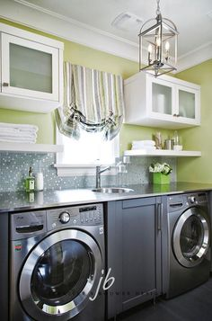 #LaundryRoom #Interiors   Love the stainless steel countertop and backsplash