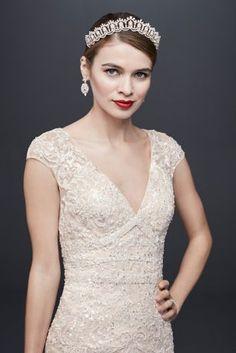 27d6738d Cap Sleeve Plunging V-Neck Sheath Wedding Dress | David's Bridal Hair Comb  Wedding,