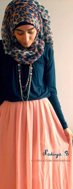 .. Peach maxi skirt hijab  I love this style I would so wear a hijab and I am not Muslim