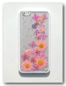 Handmade iPhone 6 plus case, Resin with Real Flowers,(21)