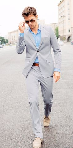 A light two-piece suit is perfect for those summer months at work.