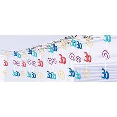 30 år Fødselsdag Folie Loftsdekoration - Single. Rigtig flot farverig loftsdekoration til den runde 30 års fødselsdagsfest! Både til mænd og kvinder