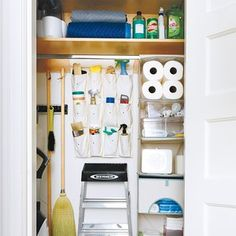 Cindy's Country Living: The 'perfect' utility cupboard Cleaning Supply Storage, Rv Storage, Cleaning Closet, Smart Storage, Storage Boxes, Storage Spaces, Storage Ideas, Closet Storage, Organize Cleaning Supplies