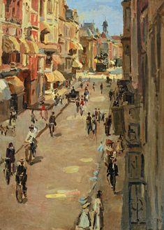 Noordeinde , The Hague - Isaac Israels , 1917 Dutch, Oil on canvas Amsterdam, Renoir, Monet, James Ensor, La Haye, Cityscape Art, Royal Academy Of Arts, The Hague, Dutch Painters
