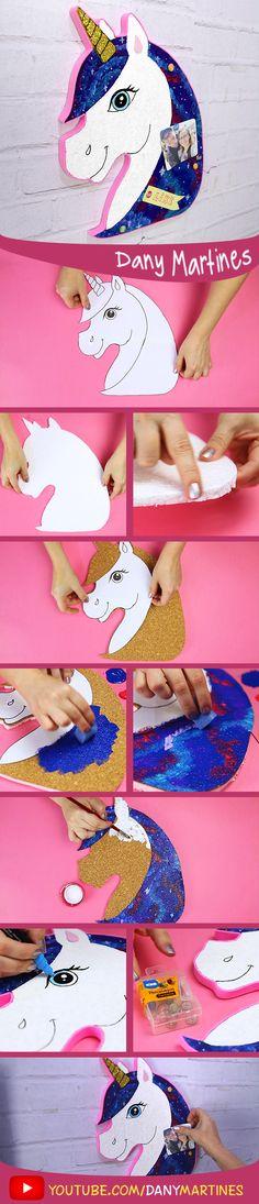 Faça você mesmo um lindo painel de fotos de unicornio, porta recados, DIY, do it youself, unicorn, Dany Martines