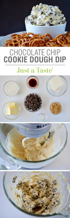 Skip the oven in favor of nobake and eggfree Chocolate Chip Cookie Dough Dip Its creamy its cool and it takes just 5 minutes to make Serve this dessert dip with pretzels. Cookie Dough Dip, Chocolate Chip Cookie Dough, Chocolate Chips, Chocolate Cupcakes, Chocolate Desserts, Yummy Treats, Sweet Treats, Yummy Food, Tasty
