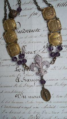 Paris Vintage Souvenir Bracelet Assemblage by VintageTraveler, $110.00
